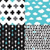 Seamless geometric collection dream clouds arrow plus sign and abstract brush shape illustration background pattern in vector