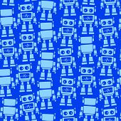 Little Robot Front And Back Seamless Pattern