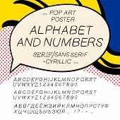 Comics pop art alphabet and numbers