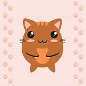 Cute kawaii kitty on footprint background, flat design.