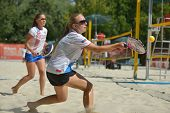 MOSCOW, RUSSIA - JULY 19, 2014: Woman double of Russia in the match against Italy during ITF Beach T