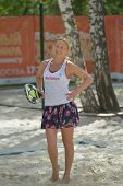 MOSCOW, RUSSIA - JULY 19, 2014: Olga Barabanschikova of Belarus in the match against France during ITF Beach Tennis World Team Championship. France won 2-0