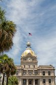picture of south american flag  - Classic old Savannah Georgia City Hall with Gold Dome and American Flag - JPG