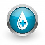 blood blue glossy web icon