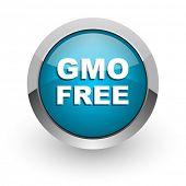 gmo free blue glossy web icon