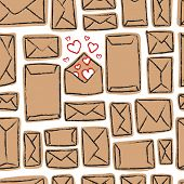 Vector seamless pattern - many craft envelopes and one with love