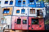 VIENNA, AUSTRIA-July 3 : view of Hundertwasser house on July 3, 2014. Beautiful Hundertwasser house
