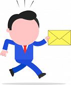 Running Businessman Holding Mail Envelope