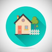Real Estate Symbol House Building Private Property Tree Fence Icon with long shadow on Stylish Backg