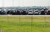 TUSCANY, ITALY - 27 June: New cars parked at distribution center in Tuscany, Italy. This one of bigg