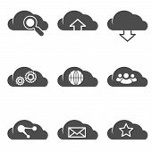 Cloud Related Internet Icons Set