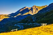 Mountains glow by morning sunlight in the national park Durmitor in Montenegro, Balkans. Europe. Beauty world.