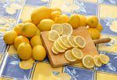 Lemons and cutting board