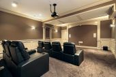 image of home theater  - Theater in luxury home with stadium seating - JPG