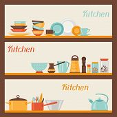 Horizontal banners with kitchen and restaurant utensils icons.