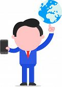 Businessman Holding Globe And Smartphone