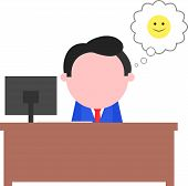 Happy Businessman Sitting Behind Desk