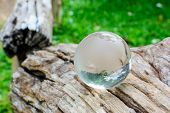 Global Glass Ball On Wooden