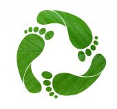 image of carbon-footprint  - Green footprint recycle sign isolated on white - JPG