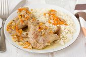Rabbit With Carrot And Rice On Plate