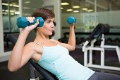 Fit brunette lifting dumbbells on bench at the gym