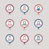 stock photo of iroquois  - Userpic mapping pins icon set eps 10 - JPG
