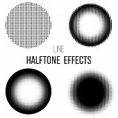 4 abstract  line halftone circles