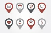 Medical mapping pins icons