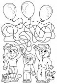 Maze 8 coloring book with children - eps10 vector illustration.