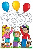 Maze 8 with children and balloons - eps10 vector illustration.