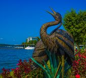 Bird sculpture at Lake of the Ozarks in flowers