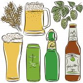foto of drawing beer  - set of beer bottle and glass - JPG
