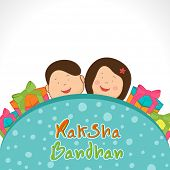 Beautiful greeting card design on occasion of Raksha Bandhan celebrations with happy little brother, sister and colorful gift boxes on grey background.