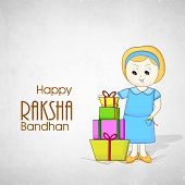 Cute little girl with colorful gift boxes on grey background on the occasion of Happy Raksha Bandhan