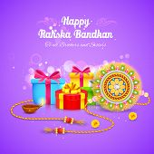 illustration of Raksha Bandhan background with rakhi and gift