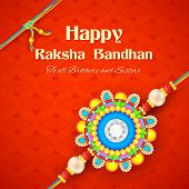 pic of rakshabandhan  - illustration of decorative rakhi for Raksha Bandhan background - JPG