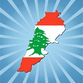 Lebanon map flag on blue sunburst illustration