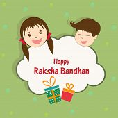 Happy Raksha Bandhan celebrations cute little girl and boy face with gift boxes on green background.
