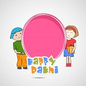 Cute little sister and brother holding a pink banner with colorful text on grey background for the occasion of Raksha Bandhan celebrations.