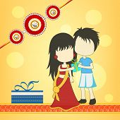 Beautiful concept on occasion of Raksha Bandhan celebrations with cute sister and brother hugging to