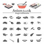 Asian food & ingredients - vector icons set