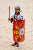 Jordanian men dresses as Roman soldier