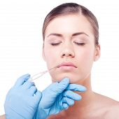 Injecting botox injections in woman