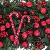 Christmas and winter floral background with candy canes, red bauble decorations, holly and winter gr
