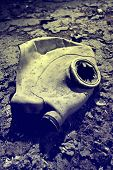 Gas mask lying on the ground