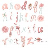Unique vector flower font. Amazing hand drawn Alphabet