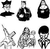 vector illustration of catholic silhouettes