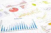 Colorful Graphs, Charts, Marketing Research And  Business Annual Report Background
