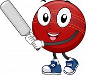 Mascot Illustration Featuring a Cricket Ball Holding a Cricket Bat