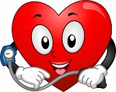 Mascot Illustration Featuring a Heart Taking Its Blood Pressure